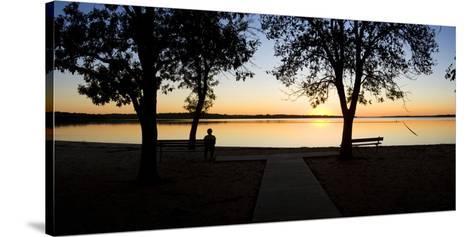 Sunset over Pomona Reservoir at Pomona State Park, Vassar, Osage County, Kansas, Usa--Stretched Canvas Print