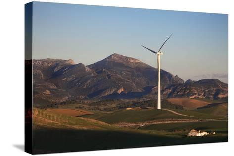 Windfarm Amidst Farmland Near Ardales, Andalucia, Spain--Stretched Canvas Print