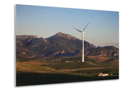 Windfarm Amidst Farmland Near Ardales, Andalucia, Spain--Metal Print