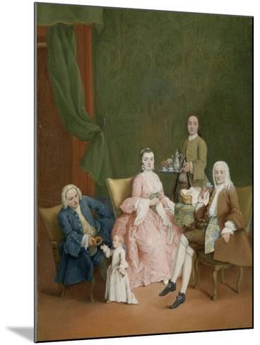 Portrait of a Venetian Family with a Manservant Serving Coffee-Pietro Longhi-Mounted Art Print