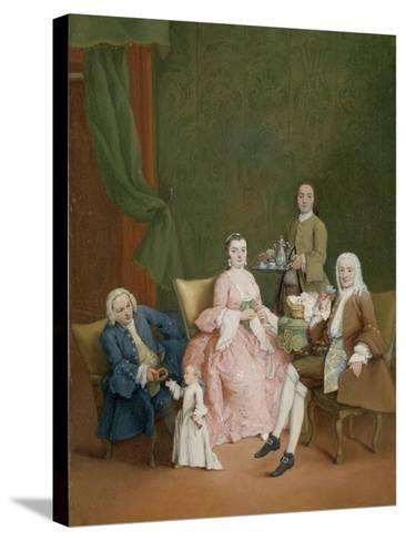Portrait of a Venetian Family with a Manservant Serving Coffee-Pietro Longhi-Stretched Canvas Print