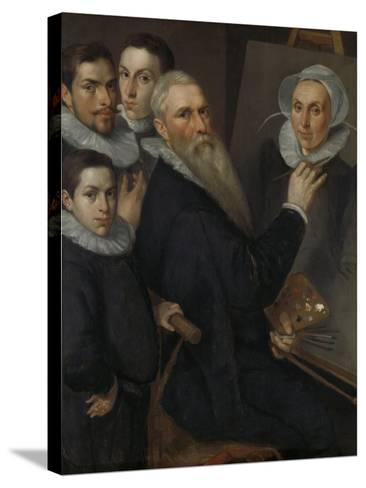 Self- Portrait of the Painter with His Family,-Jacob Willemsz Delff I-Stretched Canvas Print