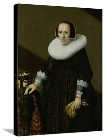 Portrait of Geertruyd Reael, Wife of Philips Denijs-Huygh Pietersz Voskuyl-Stretched Canvas Print