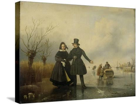 Portrait of Mr. and Mrs. Thijssen on the Ice-Jacobus Sorensen-Stretched Canvas Print