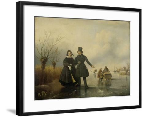 Portrait of Mr. and Mrs. Thijssen on the Ice-Jacobus Sorensen-Framed Art Print
