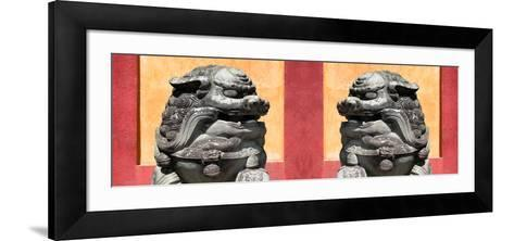 China 10MKm2 Collection - Asian Sculpture with two Lions-Philippe Hugonnard-Framed Art Print