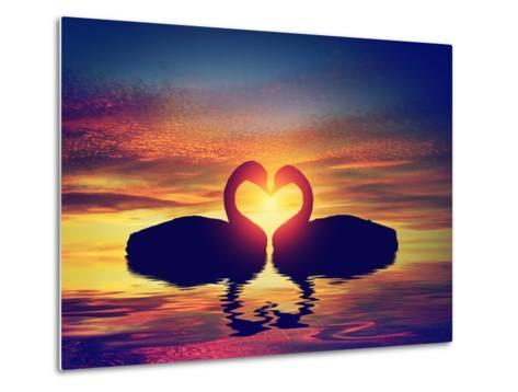 Two Swans Making a Heart Shape at Sunset. Valentine's Day Romantic Concept-Michal Bednarek-Metal Print