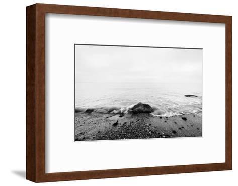 Nostalgic Sea. Waves Hitting in Rock in the Center. Black and White, far Horizon.-Michal Bednarek-Framed Art Print