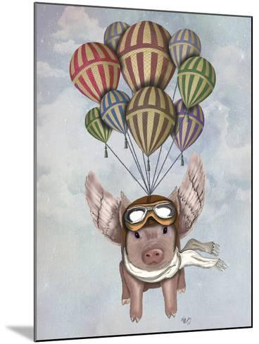 Pig and Balloons-Fab Funky-Mounted Art Print