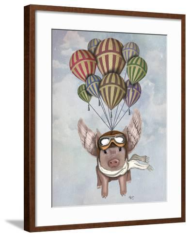 Pig and Balloons-Fab Funky-Framed Art Print