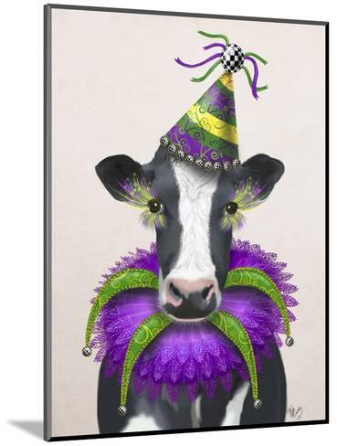 Mardi Gras Cow-Fab Funky-Mounted Art Print
