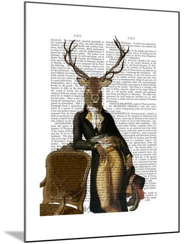 Deer and Chair Full-Fab Funky-Mounted Art Print