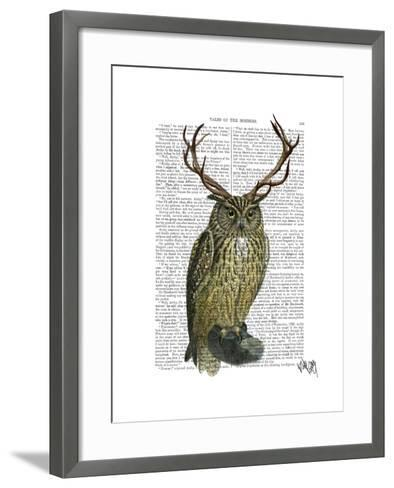Owl with Antlers plain-Fab Funky-Framed Art Print