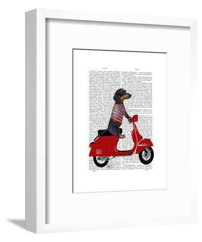 Dachshund on a Moped-Fab Funky-Framed Art Print