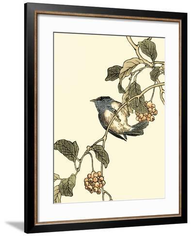 Oriental Bird on Branch III-Vision Studio-Framed Art Print