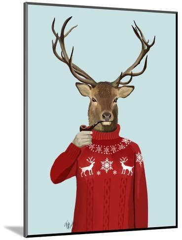 Deer in Ski Sweater-Fab Funky-Mounted Art Print
