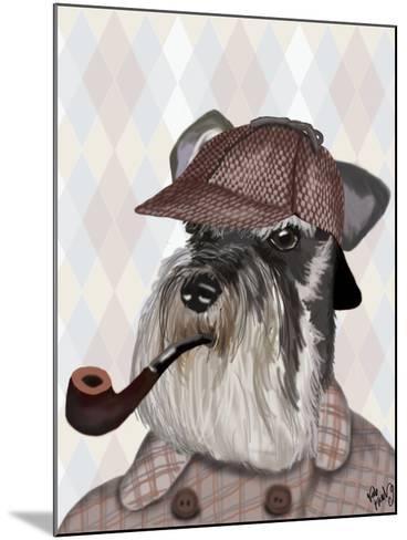 Schnauzer Sherlock-Fab Funky-Mounted Art Print