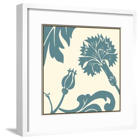 Teal Floral Motif II-Chariklia Zarris-Framed Art Print