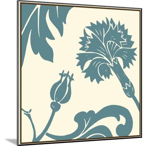 Teal Floral Motif II-Chariklia Zarris-Mounted Art Print