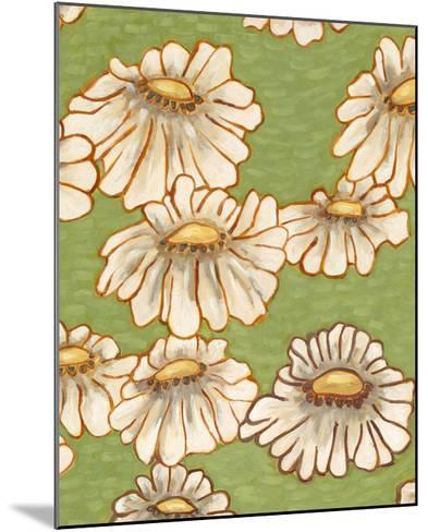 Mums on Green II-Karen Deans-Mounted Art Print
