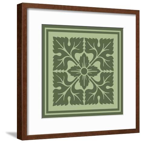 Tonal Woodblock in Green IV-Vision Studio-Framed Art Print