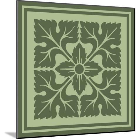 Tonal Woodblock in Green IV-Vision Studio-Mounted Art Print