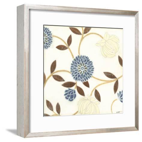 Blue and Cream Flowers on Silk I-Norman Wyatt Jr^-Framed Art Print
