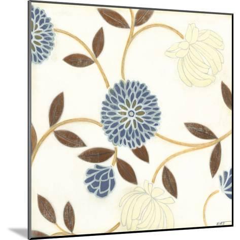 Blue and Cream Flowers on Silk I-Norman Wyatt Jr^-Mounted Art Print