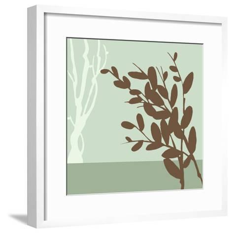 Metro Leaves in Green II-Erica J^ Vess-Framed Art Print