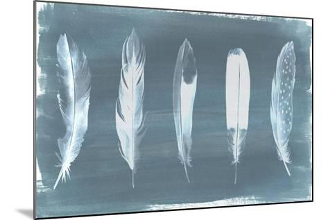 Feathers on Dusty Teal I-Grace Popp-Mounted Art Print