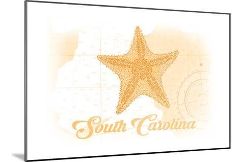 South Carolina - Starfish - Yellow - Coastal Icon-Lantern Press-Mounted Art Print