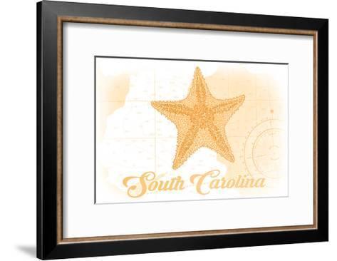 South Carolina - Starfish - Yellow - Coastal Icon-Lantern Press-Framed Art Print
