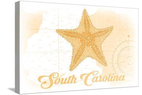 South Carolina - Starfish - Yellow - Coastal Icon-Lantern Press-Stretched Canvas Print