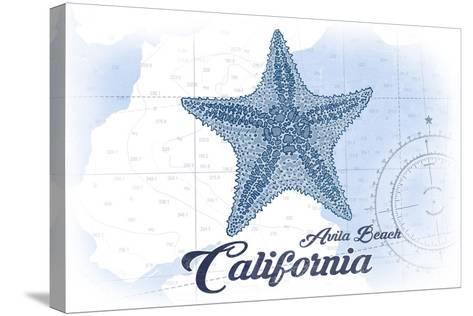 Avila Beach, California - Starfish - Blue - Coastal Icon-Lantern Press-Stretched Canvas Print