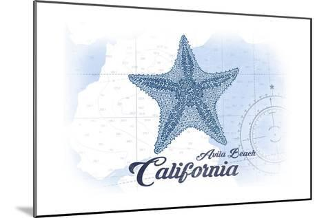Avila Beach, California - Starfish - Blue - Coastal Icon-Lantern Press-Mounted Art Print