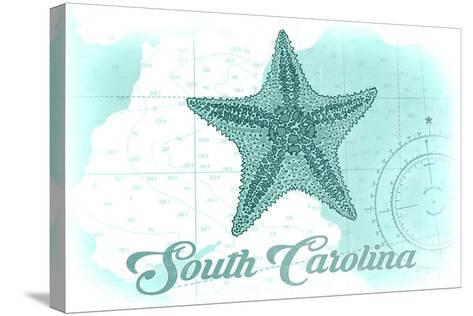 South Carolina - Starfish - Teal - Coastal Icon-Lantern Press-Stretched Canvas Print