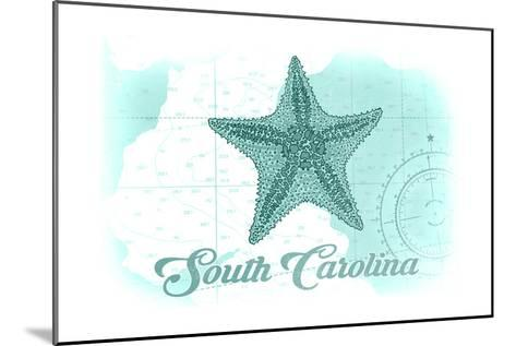 South Carolina - Starfish - Teal - Coastal Icon-Lantern Press-Mounted Art Print