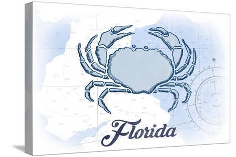 Florida - Crab - Blue - Coastal Icon-Lantern Press-Stretched Canvas Print