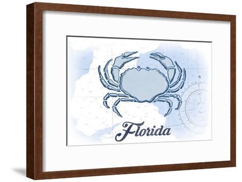 Florida - Crab - Blue - Coastal Icon-Lantern Press-Framed Art Print