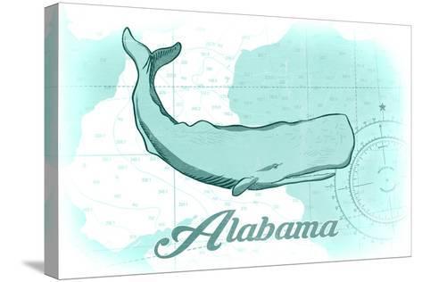 Alabama - Whale - Teal - Coastal Icon-Lantern Press-Stretched Canvas Print
