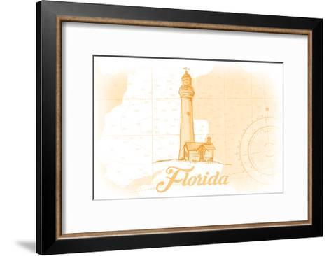 Florida - Lighthouse - Yellow - Coastal Icon-Lantern Press-Framed Art Print
