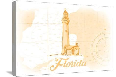 Florida - Lighthouse - Yellow - Coastal Icon-Lantern Press-Stretched Canvas Print