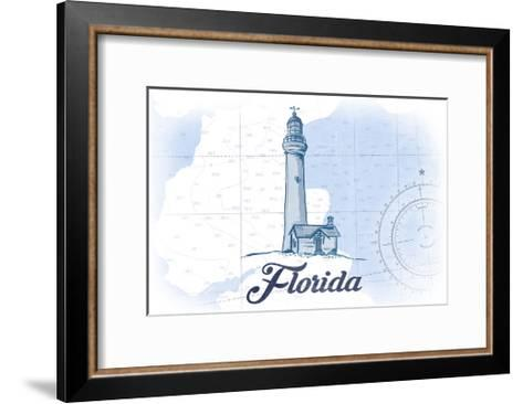 Florida - Lighthouse - Blue - Coastal Icon-Lantern Press-Framed Art Print