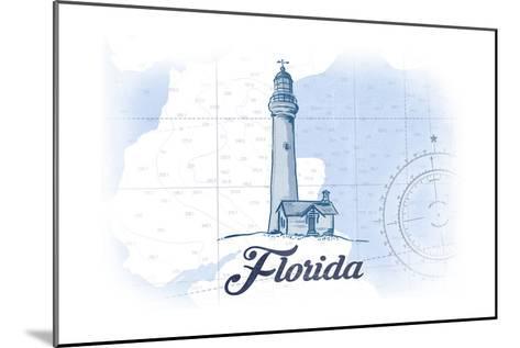 Florida - Lighthouse - Blue - Coastal Icon-Lantern Press-Mounted Art Print