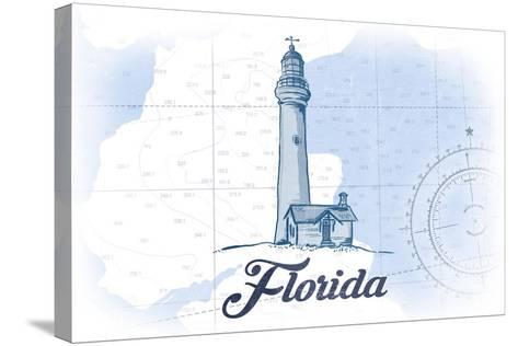 Florida - Lighthouse - Blue - Coastal Icon-Lantern Press-Stretched Canvas Print