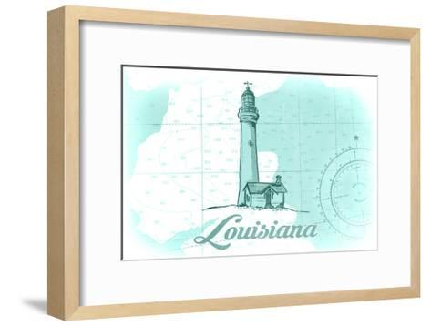Louisiana - Lighthouse - Teal - Coastal Icon-Lantern Press-Framed Art Print