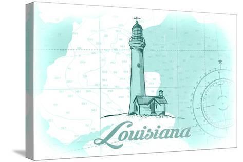 Louisiana - Lighthouse - Teal - Coastal Icon-Lantern Press-Stretched Canvas Print