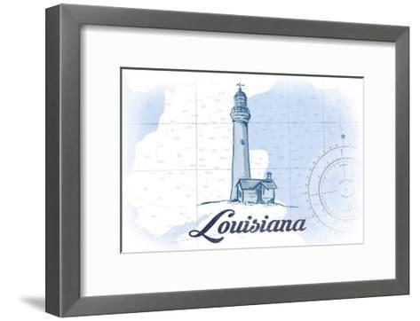 Louisiana - Lighthouse - Blue - Coastal Icon-Lantern Press-Framed Art Print
