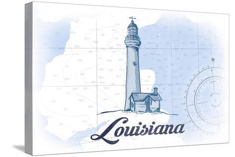 Louisiana - Lighthouse - Blue - Coastal Icon-Lantern Press-Stretched Canvas Print