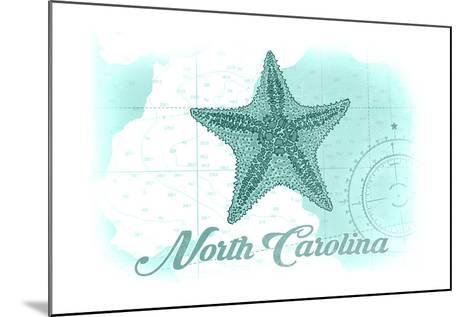 North Carolina - Starfish - Teal - Coastal Icon-Lantern Press-Mounted Art Print